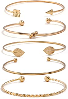 I'S ISAACSONG Yellow Gold Plated Inspirational Love Knot Stackable Open Cuff Bangle Bracelet Set for Women Girls