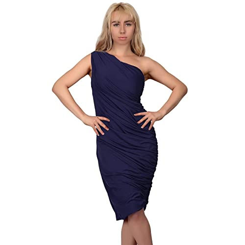 acbe21fbc7 HDE Women s One Shoulder Midi Cocktail Dress Ruched Side