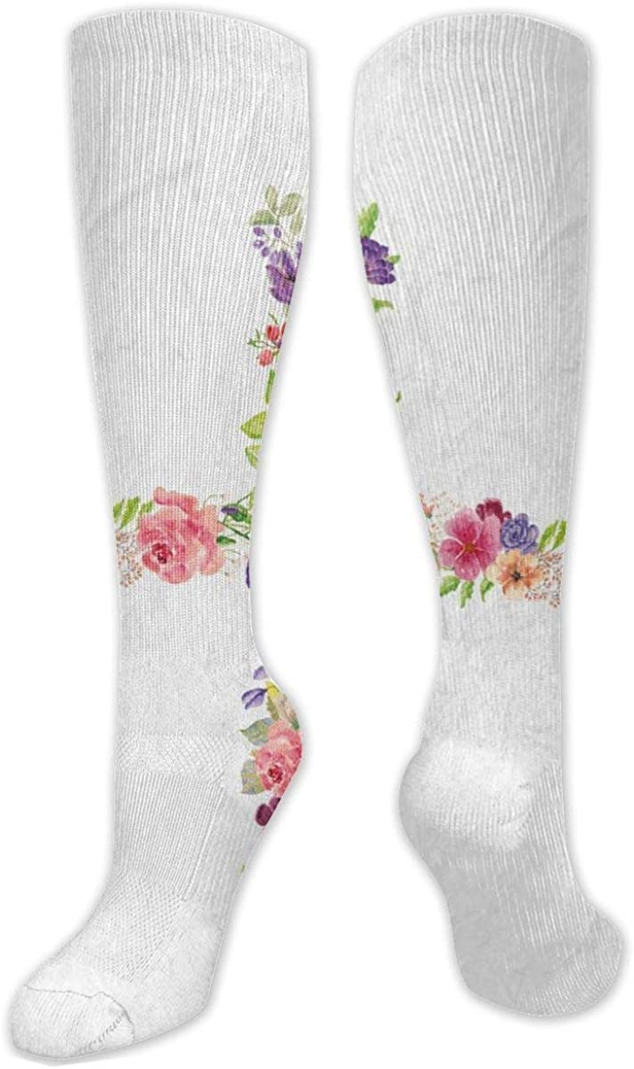 Letter H With Flower Knee High Socks Leg Warmer Dresses Long Boot Stockings For Womens Cosplay Daily Wear
