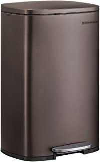 SONGMICS 13.2 Gal (50L) Kitchen Trash Can, Pedal Garbage Can, with Plastic Inner Bucket, Hinged Lid, Soft Closure, Odor Proof and Hygienic, Brown ULTB50BR