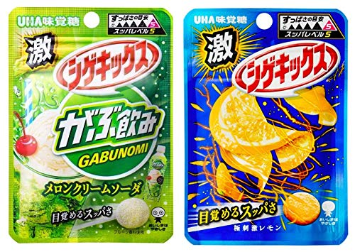 UHA味覚糖 シゲキックス アソート 2種各5個計10個セット(メロンクリームソーダ×5・レモン×5)