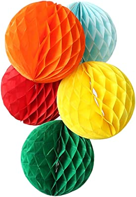 Rozi Decoration® Beautiful Honeycomb Party Decoration Balls Hanging Decor Birthday Party Wedding Birthday Home Decoration (25 cm- Pack of 5, Multicolored)