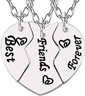 UK 2PC Cristal Corazón grandes hermanita Collar Joyería Idea de Regalo de familia