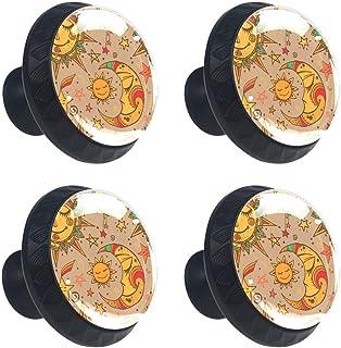 Yellow Smile Sun and Moon - Juego de 4 pomos para armario de cocina cajones y aparador con asas redondas