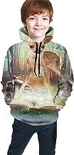 OPQH Kids Magic Forest Friends Bambi Africa Ratel Rabbit Boys Girls Hooded Shirts Sweatshirts Hoodies Pockets Teen