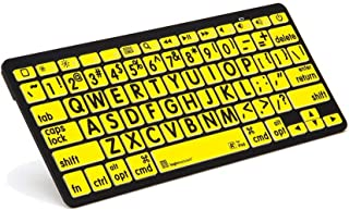 LogicKeyboard XL Print - black on yellow Bluetooth Mini Keyboard Compatible with Apple iPad, iPhone, iPod,and Android - Part Number LKBU-LPBY-BTON-US