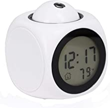 TRIXES Talking Projector Alarm Clock with Temperature - Ceiling Projection - White