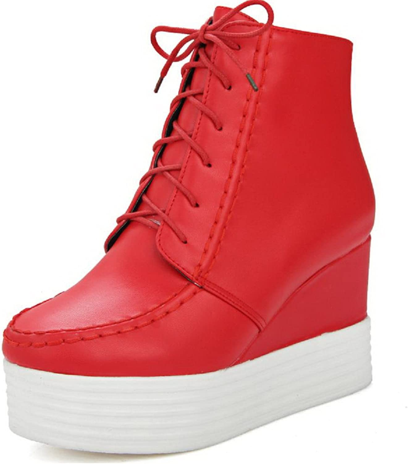 AllhqFashion Women's Soft Material Round Closed Toe Solid Low Top High Heels Boots