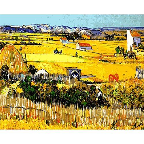 Pintar por Número Para Adulto Niño Principiante y Ancianos - Van Gogh - Cosecha Pintura al óleo de Bricolaje con Lienzo preimpreso Pintura del arte 16x20 Pulgadas Sin marco