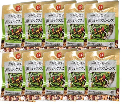 無添加 有機 蒸し ミックスビーンズ 85g×10個 ★ 宅配便 ★ 5種の有機豆の美味しさと栄養がぎゅっとつまった蒸し豆です。ひよこ豆、大豆、青えんどう、赤いんげん、黒いんげんがバランスよくミックスされていて、美味しさはもちろん彩も鮮やかで、お料理を華や