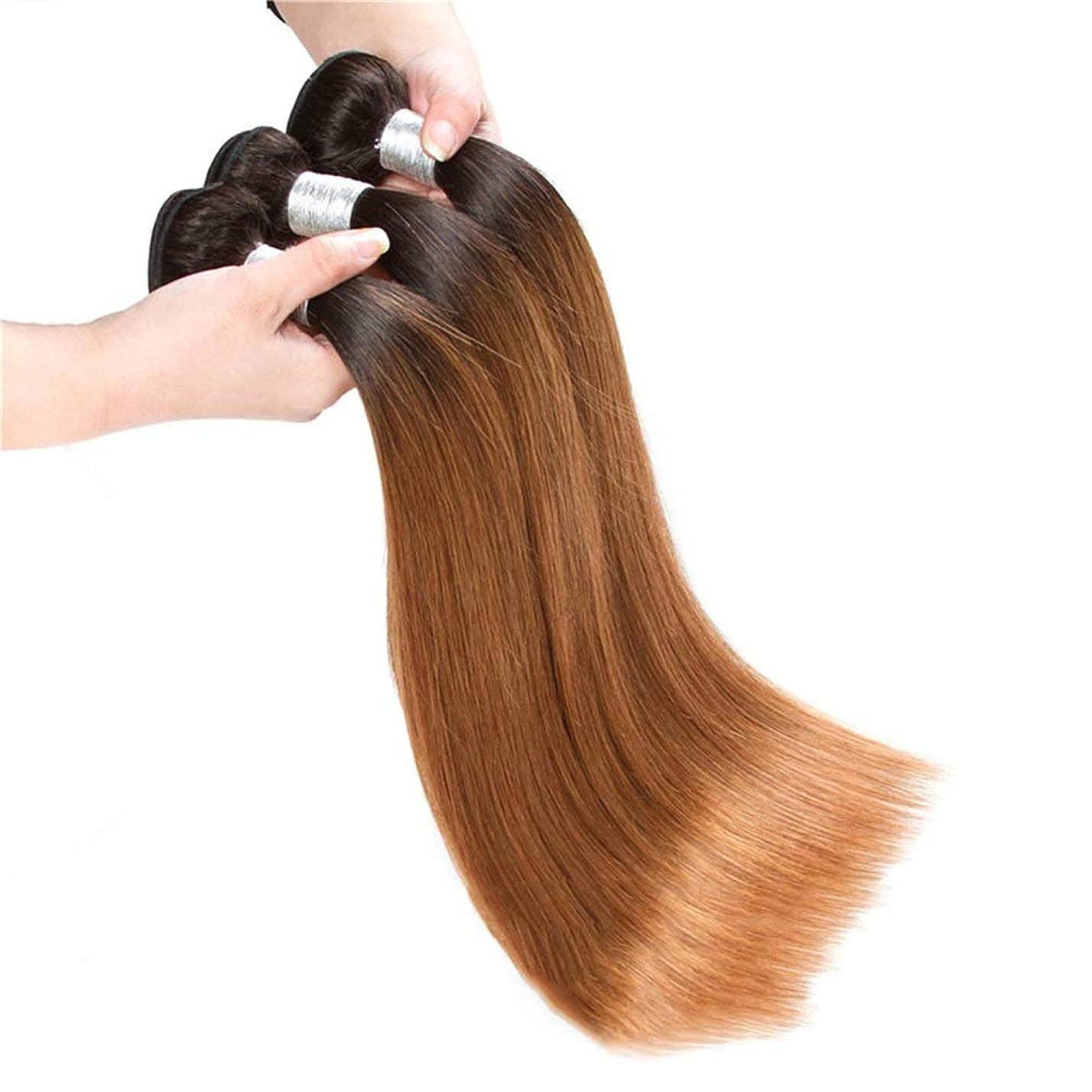 かつら ブラジルのオンブル髪織りバンドルストレート人間の髪の毛の拡張子 - 1バンドル - 1B / 30ブラックトゥブラウン2トーンカラー(100g / PC)ロングストレートウィッグウィッグ (色 : ブラウン, サイズ : 16 inch)