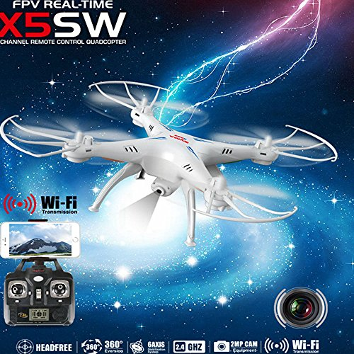 Syma X5SW 4CH 2.4G 6-Axis Gyro Headless Support Mobile Phone Apple IOS Android Wi-Fi Wifi Control FPV HD 0.3MP Camera 360-degree 3D Rolling Mode 2 RTF RC Quadcopter White