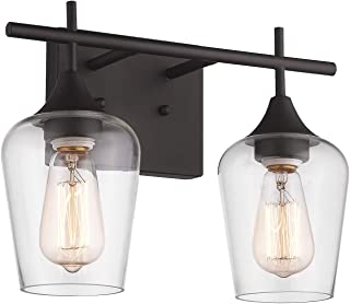 Osimir 2-Light Bathroom Vanity Light Fixtures, Vintage Indoor Wall lamp Lantern, Wall Mount Light Sconces for Hallway, Makeup Dressing Table, Clear Glass Shade Oil Rubbed Bronze Finish, WL9167-2A