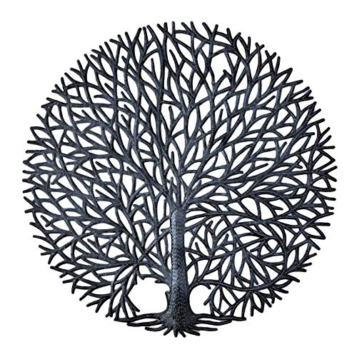 Haitian Tree of Life Wall Plaque, Decorative Kitchen Metal Wall Hanging Art, Indoor or Outdoor Plaque, Handmade in Haiti, NO MACHINES USED, 24 In. x 24 In. (Tranquility Tree)