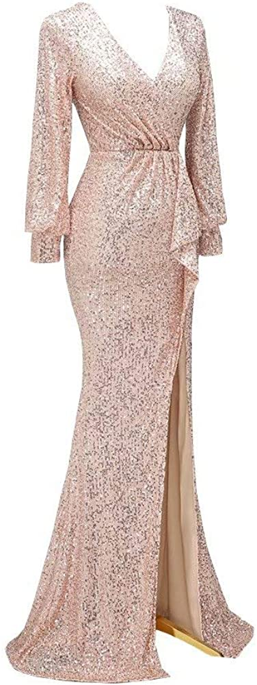 Glittery Sequined Fabric Mermaid Long Prom Evening Formal Party Dreses with Poiet Sleeves Slits 2021