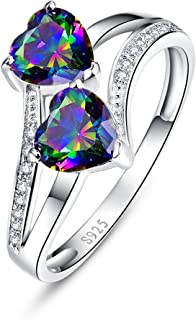 925 Sterling Silver Band Created Mystic Rinbow Topaz Double Heart Promise Ring for Women
