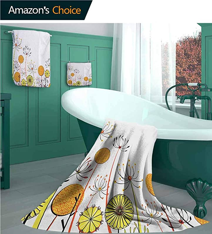 Floral 3 Pieces Towel Set Umbelifers Flower Garden Summer Spring Season Themed Cute Petals Illustration Camping Towel Gym Towel Pool Towels On Beach Cart Beach Chairs Marigold Yellow