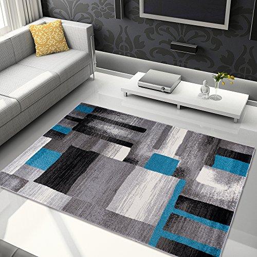 Tapiso Jawa Alfombra Salón Comedor Dormitorio Diseño Moderno Gris Blanco Azul Rayas Pelo Denso Frise 140 x 190 cm