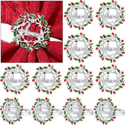 Patelai 12 Pieces Christmas Napkin Rings Xmas Napkin Holder Ring Buckle Wreath Napkin Ring Elk Deer Napkin Ring Alloy Metal Napkin Ring for Christmas Thanksgiving Dinner Table Wedding Decor (Silver)