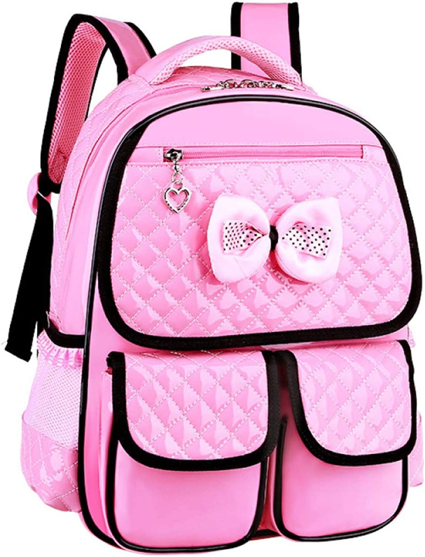 XBLAA FLHT Primary School School Bag 135 Grade Girl 612 Years Old Burden Ridge Student Backpack Large Capacity Reinforced Waterproof Backpack Wallet Personal (color   Pink, Size   Small)