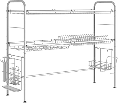 AIYAKA Organizador de utensilios de acero inoxidable 304, con ganchos de soporte, longitud ajustable, color plateado