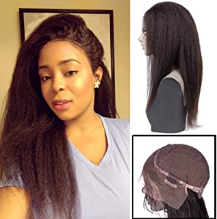 FDX 8a Human Hair Lace Front Wigs Kinky Straight Pre Plucked with Baby Hair Bleached Knots,100% Unprocessed Brazilian Human Hair Lace Front Wig Kinky Straight Hair Natural Color for Black Women 14In.