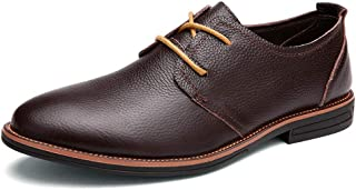 Sygjal Men's Business Oxford Casual Classic Simple Pure Color Low-top Formal Shoes Semi (Color : Dark Brown, Size : 39 EU)