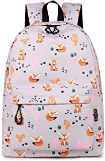 CIKER Waterproof Women Backpack Cute Fox Printing Backpack School Bags DailyBagpack Cactus Print Bookbag (Grey)