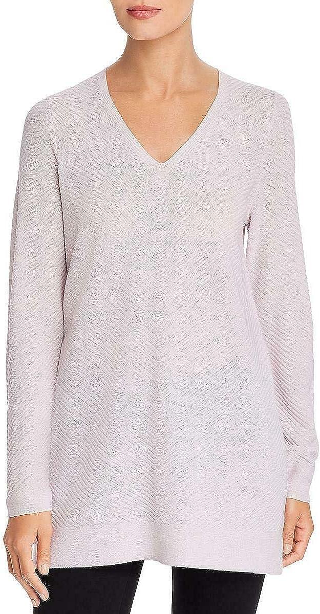Eileen Fisher Womens Extra Fine L Wool V-Neck Sweater Purple 休日 着後レビューで 送料無料