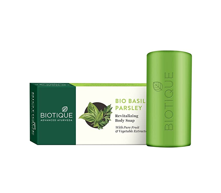 汚い彼女印刷するBiotique Soap Basil & Parsley 150g