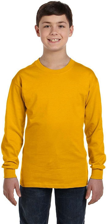 Fashion Gildan 5400B Youth 100% Cotton L Sleeve Tee Gold Medium