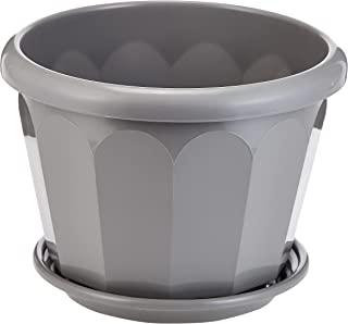 Cosmoplast Plastic Hexagonal Flowerpot 30 With Tray Grey, HEX 30, IFFP30065G6