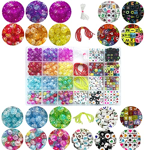 pangaeawalker 800+ cuentas de manualidades para hacer joyas, grietas de hielo y letras del alfabeto para hacer pulseras