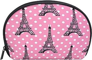 ALAZA Eiffel Tower Polka Dot Half Moon Cosmetic Makeup Toiletry Bag Pouch Travel Handy Purse Organizer Bag for Women Girls