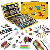 KIDDYCOLOR Conjunto Arte Deluxe en Maletín, para Niños Set Material Escolar , Incluye lápices de Colores, Pasteles de óleo, Acuarelas, Pinceles para Pintar (159 Piezas)