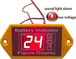 CPTDCL 24V Lead Acid Battery Voltmeter Low Voltage Sound Alarm Battery Voltage Indicator LCD Digital Battery Voltage Tester