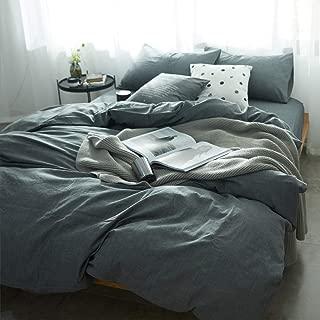 MKXI Solid Elegant Comforter Cover, Home Bedroom Cotton Grey Man Duvet Cover Set