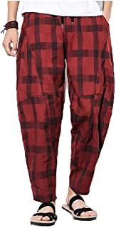 neveraway Men's Long Pants Classic Plaid Retrol Baggy Oversized Sweatpants