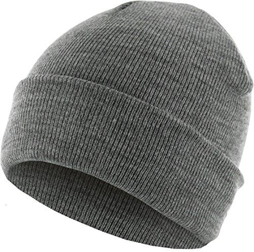 MSTRDS Bonnet tricoté Basique à Flap Unisexe - Uni - Bonnet d'hiver Neutre pour Homme et Femme - sans Impression ni Broderie - sans Logo - Couleur Gri