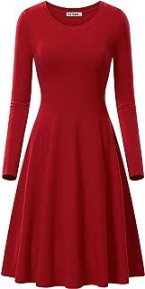 VETIOR Women's Long Sleeve Scoop Neck Casual Flared Midi Swing Dress