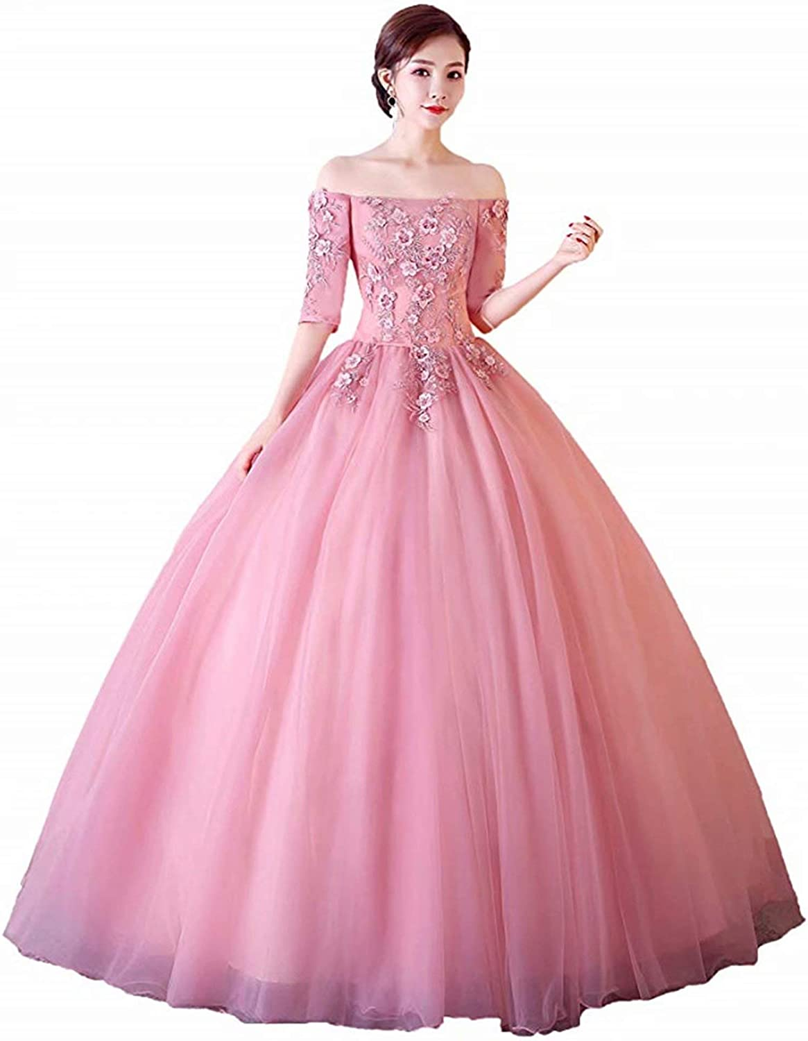 Honeywedding Women's Floor Length Vintage Quinceanera Dresses Off Shoulder Lace Tulle Long Prom Ball Gowns
