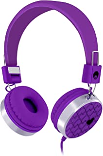 Rockpapa Love Heart On Ear Wired Headphones Foldable, Adjustable Headband with 3.5mm Jack for Kids Children Toddler Teens Age 3-15, Mp3/4 CD iPod iPad Mobile Tablet in Car Airplane Purple