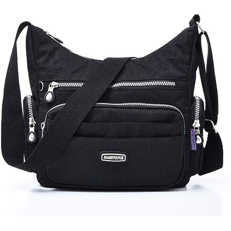 Estwell Umhängetasche Damen Kleine Schultertasche Handtasche Damentasche Wasserdicht Nylon Multifunktionale Crossbody Bag für Arbeit Schule Shopper