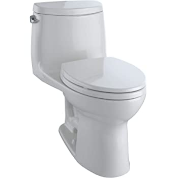 TOTO MS604114CEFG#11 UltraMax II One-Piece Elongated 1.28 GPF Universal Height Toilet with CEFIONTECT, Colonial White