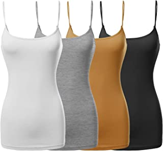 8321e43929794 Made by Emma Women s Basic Solid Long Length Adjustable Spaghetti Strap  Tank Top 4 Pack