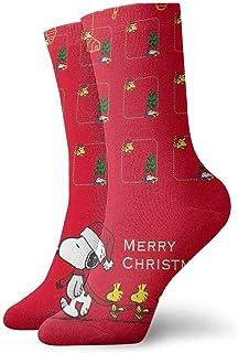 Bigtige, Calcetines para hombre Calcetines de compresión de pintura roja Merry Christmas Snoopy Calcetines de entrenamiento Cool Cushion