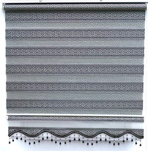 Brillant Gardinen Doppelrollo Klemmfix Schwarz Silber Versace Design Fensterrollo Ohne Bohren Gard 90 x 200 cm