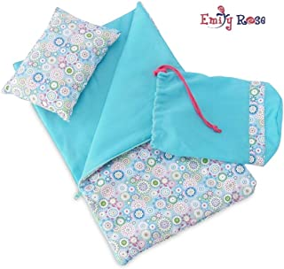 Emily Rose 18 Inch Doll Accessories | Reversible Multicolored Geometric Flower Print Sleeping Bag Set with Pillow and Drawstring Storage Bag | Fits American Girl Dolls