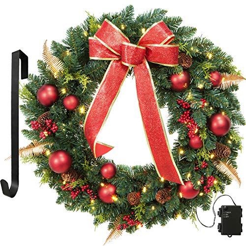 OasisCraft 24' Christmas Wreath Spruce Red Wreath Front Door with Pine Cones, Berries -50 LED Lights