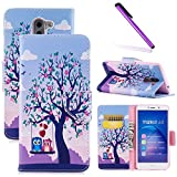 Huawei Honor 6X Case LEECOCO Fancy Printing Floral Pattern Wallet Case with Card/Cash Slots Premium PU Leather Folio Flip Kickstand Protective Case Cover for Huawei Honor 6X Owl Lover BF